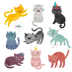 Wall Mural - Cute cats faces. Hand drawn characters. Sweet funny kittens.