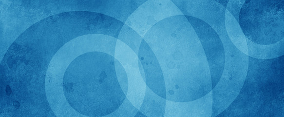 blue background with white circle rings in faded distressed vintage grunge texture design, old geometric pattern paper Fotomurales