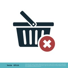 Basket Cart Shopping, e-Commerce Icon Vector Logo Template Illustration Design. Vector EPS 10.