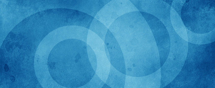 blue background with white circle rings in faded distressed vintage grunge texture design, old geometric pattern paper