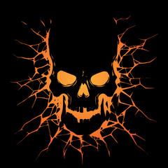 Black skull with crack hole