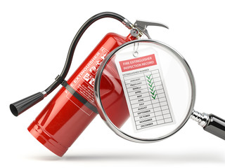 Fire extinguisher checking concept. Fire extinguisher,  loupe with checklist.