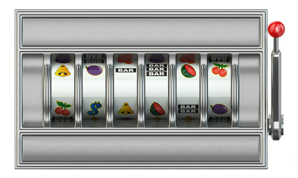 Casino and gambling. Slot machine with  empty blank reels for your text or symbols.