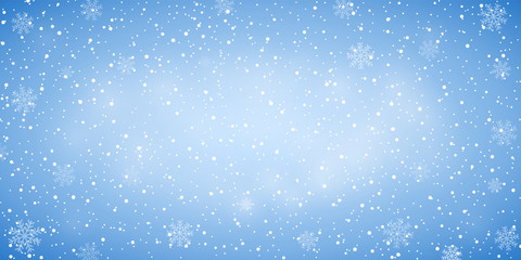 Fototapeta Snow blue background. Christmas snowy winter design. White falling snowflakes, abstract landscape. Cold weather effect. Magic nature fantasy snowfall texture decoration Vector illustration