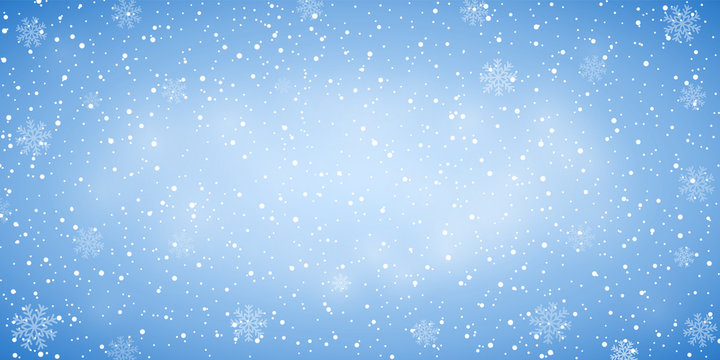 Snow blue background. Christmas snowy winter design. White falling snowflakes, abstract landscape. Cold weather effect. Magic nature fantasy snowfall texture decoration Vector illustration