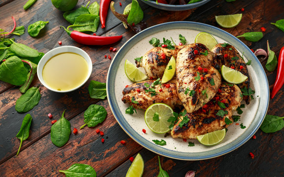 Homemade Grilled Chicken Breast in lime sauce with herbs