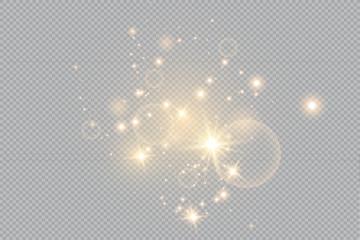 Merry Christmas. golden fire on a transparent background, golden dusty stars. vector illustrator