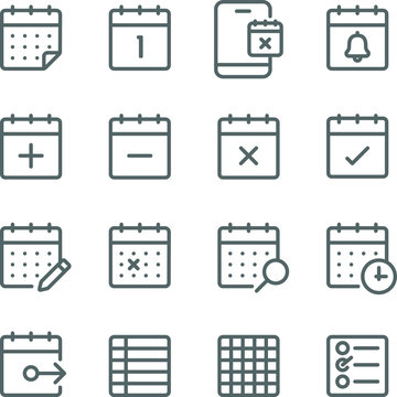 Schedule icons set vector illustration. Contains such icon as event, check list, appointment, calendar, meeting and more. Expanded Stroke