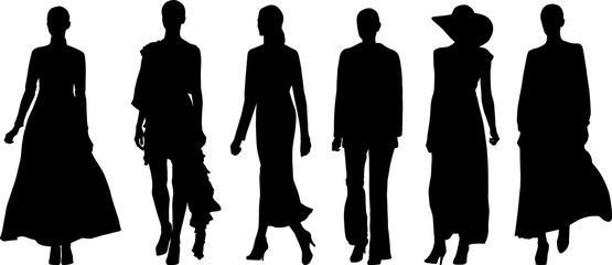 set of walking woman silhouettes
