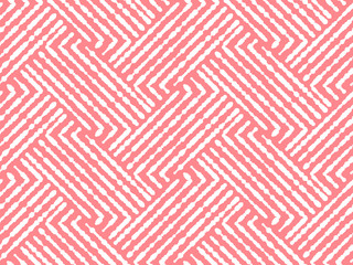 Fotorolgordijn Geometrisch Abstract geometric pattern with stripes, lines. Seamless vector background. White and pink ornament. Simple lattice graphic design