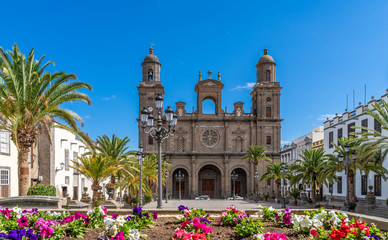 Wall Mural - Landscape with Cathedral Santa Ana Vegueta in Las Palmas, Gran Canaria, Canary Islands, Spain