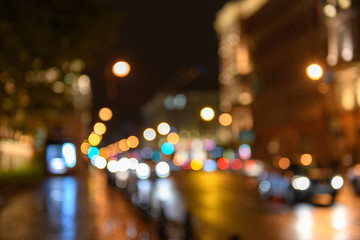 View of traffic in city street, night scape, blured bokeh background