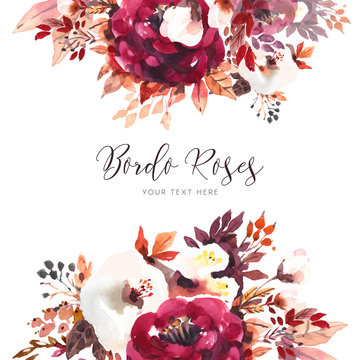 Beautiful bordo roses background in watercolor style