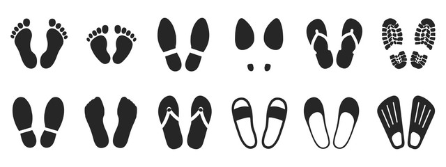 Set footprints and shoeprints icons - stock vector