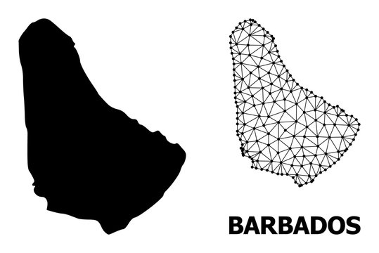 Solid and Wire Frame Map of Barbados