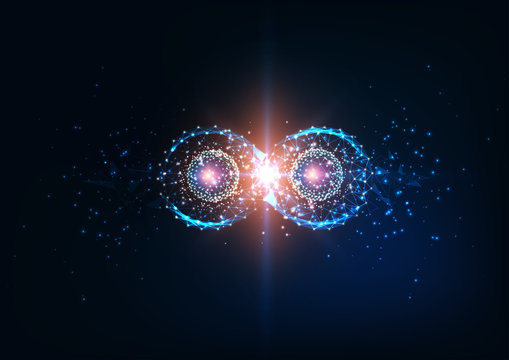 Futuristic infinity symbol, quantum entanglement, future physics science concept.