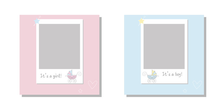 It's a boy it's a girl Vector greeting card.  Baby announcement card design with stroller. Cute frame border. Frames set for baby's photo album, invitation, note book or postcard