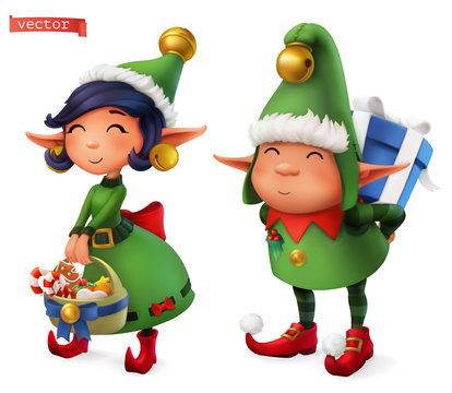 Christmas Elves. 3d vector icon