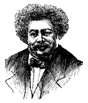 Alexandre Dumas, vintage illustration