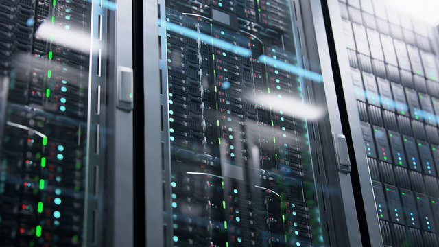 Camera moving in data center along the racks with server equipment, close up view. Seamlessly looped photorealistic 3D render animation.