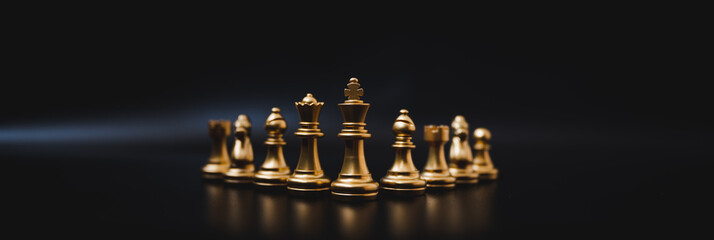 Panoramic image, Leader and success business competition concept. Chess board game strategy