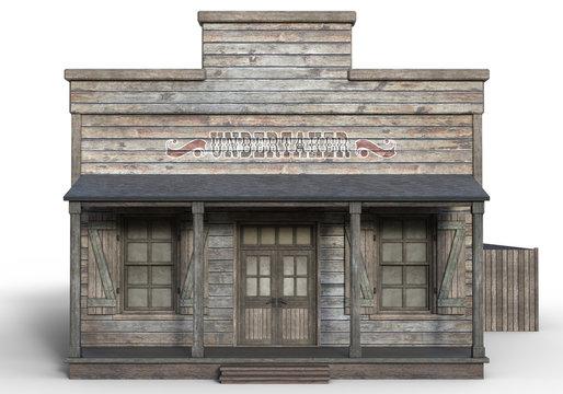3D Rendered Old Wooden Western Building on White Background - 3D Illustration