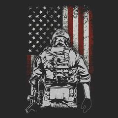 american soldier on battlefield illustration vector