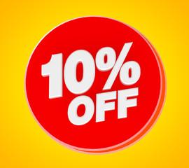 10 % OFF Sale banner, 3d rendering.