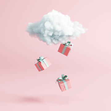 Cloud with gift box rain on pastel pink background. Creative idea. Minimal concept. 3d rendering