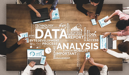 Data Analysis for Business and Finance Concept. Graphic interface showing future computer technology of profit analytic, online marketing research and information report for digital business strategy. Wall mural