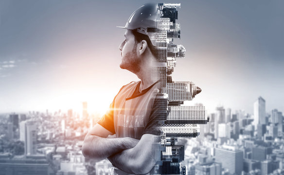 Future building construction engineering project concept with double exposure graphic design. Building engineer, architect people or construction worker working with modern civil equipment technology.