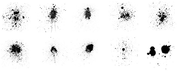 Set of ink splashes brush on white background