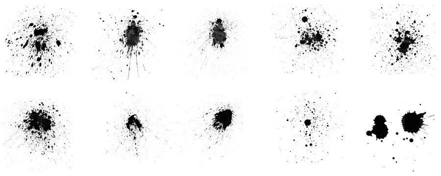 Set of ink splashes brush on white background
