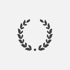 Laurel Wreath floral heraldic element, Heraldic Coat of Arms decorative logo illustration, Vector art and illustration of laurel wreath, Branches of olives, symbol of victory,