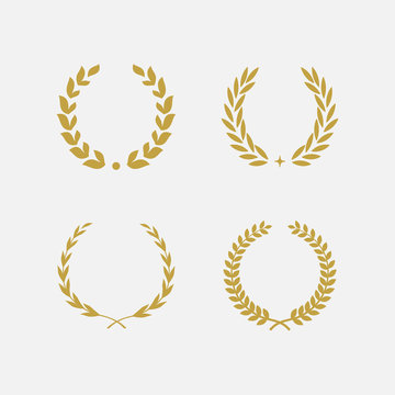 Golden Laurel Wreath floral heraldic element set, Heraldic Coat of Arms decorative logo set illustration, Vector art and illustration of laurel wreath, Branches of olives, symbol of victory,