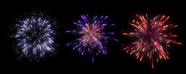 colorful firework on midnight sky Wall mural
