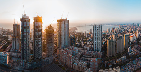 Mumbai city skyline aerial panorama.