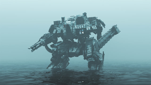 Futuristic AI Battle Droid Cyborg Mech with Glowing Lens Standing in Water in a Foggy Overcast Environment 3d illustration 3d render