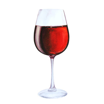 red wine in glas,, watercolor illustration isolated on white background