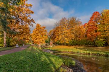 Golden autumn in Catherine Park, Pushkin, St. Petersburg, Russia. Red Cascade.