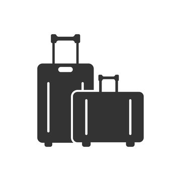 Travel bag icon in flat style. Luggage vector illustration on white isolated background. Baggage business concept.