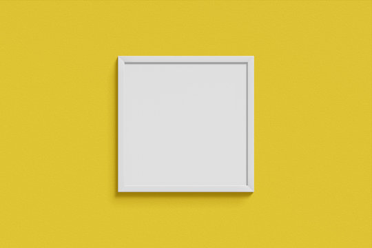 Square simple mock-up picture frame white color hanging on a blank yellow wall simple interior. 3D rendering