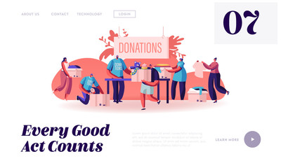 Donation and Charity Website Landing Page. Male and Female Characters Bringing Boxes with Different Things and Clothes for Poor People in Troubles Web Page Banner. Cartoon Flat Vector Illustration