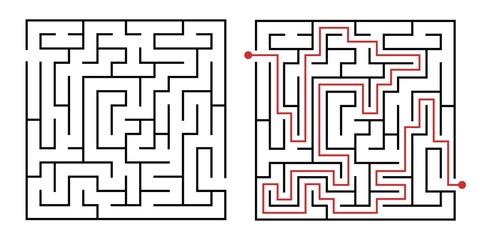 Labyrinth game way. Square maze, simple logic game with labyrinths way. How to find out quiz, finding exit path rebus or logic labyrinth challenge isolated vector illustration Fotomurales