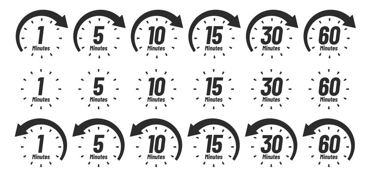 Minutes time icon. Analog clock Icons, 1 5 10 15 30 60 minute clocks and minutes ago. Work deadline arrow, delivery fast measuring clock or watch interface. Isolated sign vector set