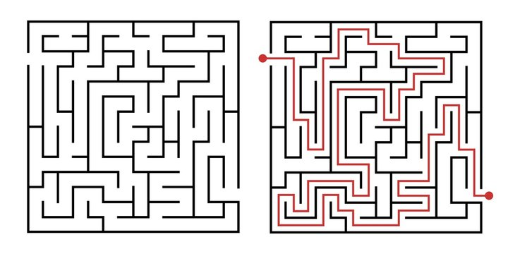 Labyrinth game way. Square maze, simple logic game with labyrinths way. How to find out quiz, finding exit path rebus or logic labyrinth challenge isolated vector illustration