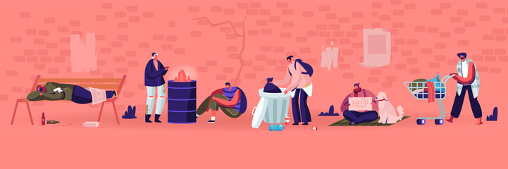 Male and Female Beggars Characters Wearing Ragged Clothing Pick Up Garbage on Street to Shopping Cart, Homeless Adult Poor People, Bums Begging Money and Need Help Cartoon Flat Vector Illustration