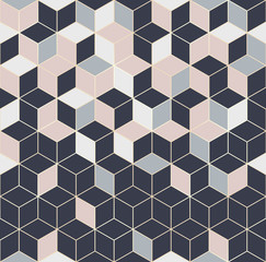 Wall Murals Geometric Vector seamless hexagon background. Geometric pattern grid with gold lines
