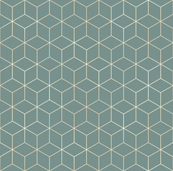 Printed roller blinds Geometric Vector seamless hexagon background. Geometric pattern grid with gold lines