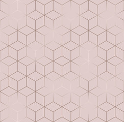 Poster Geometric Vector seamless hexagon background. Geometric pattern grid with rose gold lines